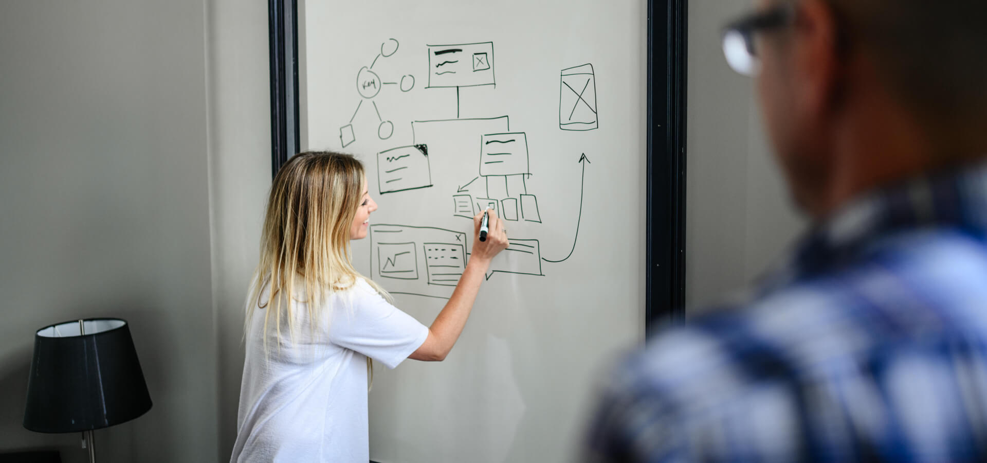 person drawing a wireframe on a whiteboard