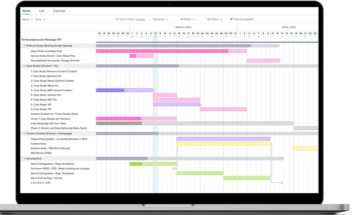 laptop with gantt chart project roadmap