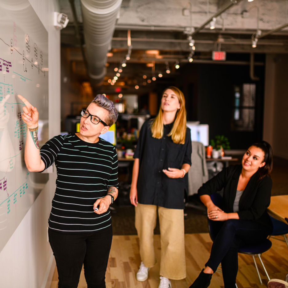designers sketching solutions on a whiteboard
