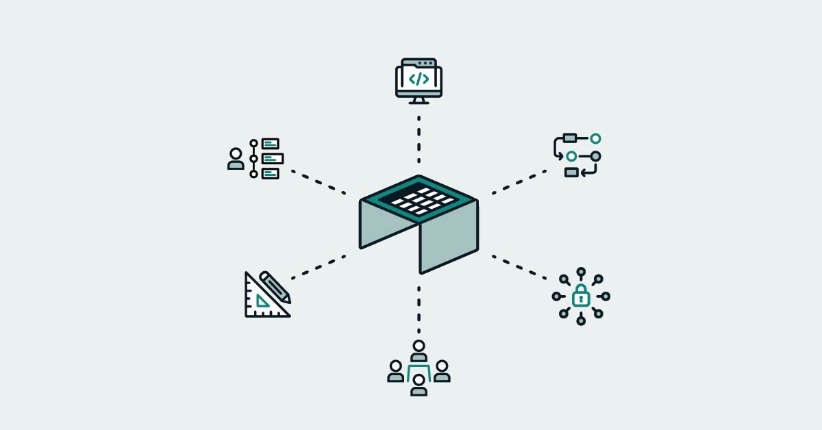 illustration icons centered around a table with a spreadsheet on it