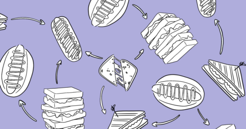 illustration of hot dogs and sandwiches with arrows to depict a content model
