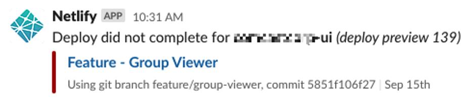 screenshot of slack message