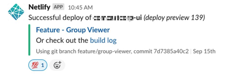 screenshot of a slack message