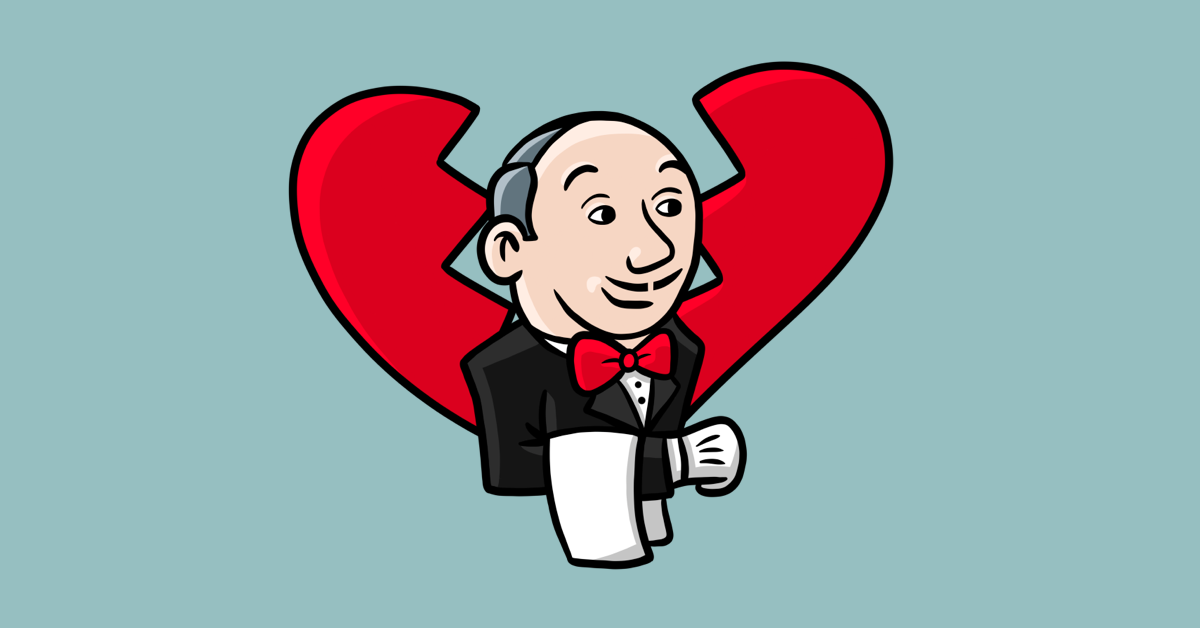 Illustration of an adapted Jenkins software butler with a broken heart behind him