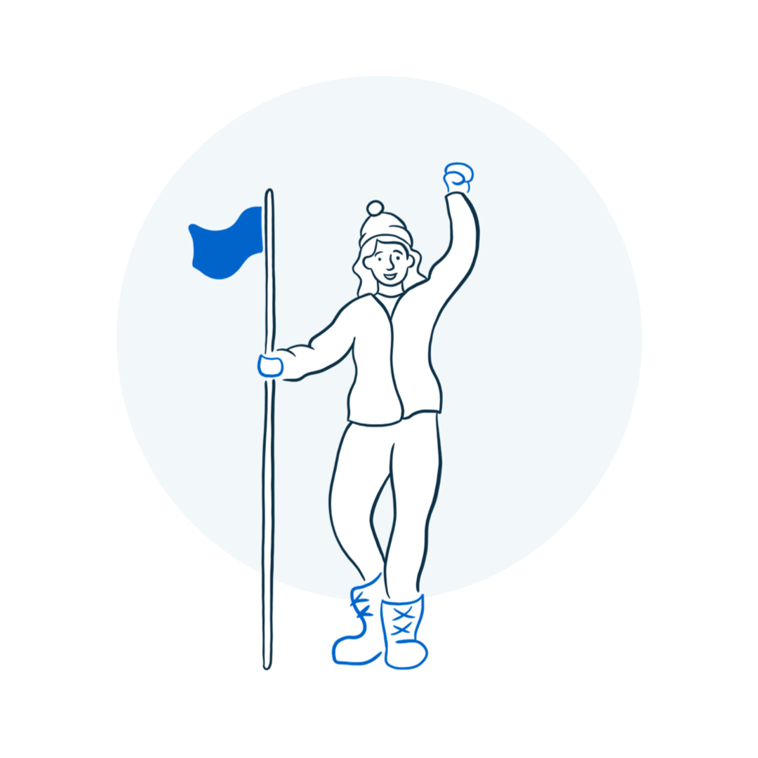 illustration of person holding a flag and cheering