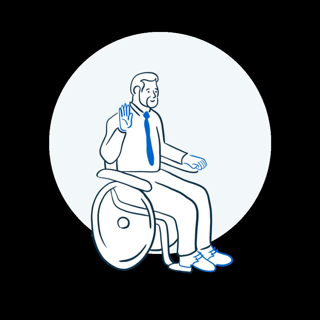 person in wheelchair raising their hand