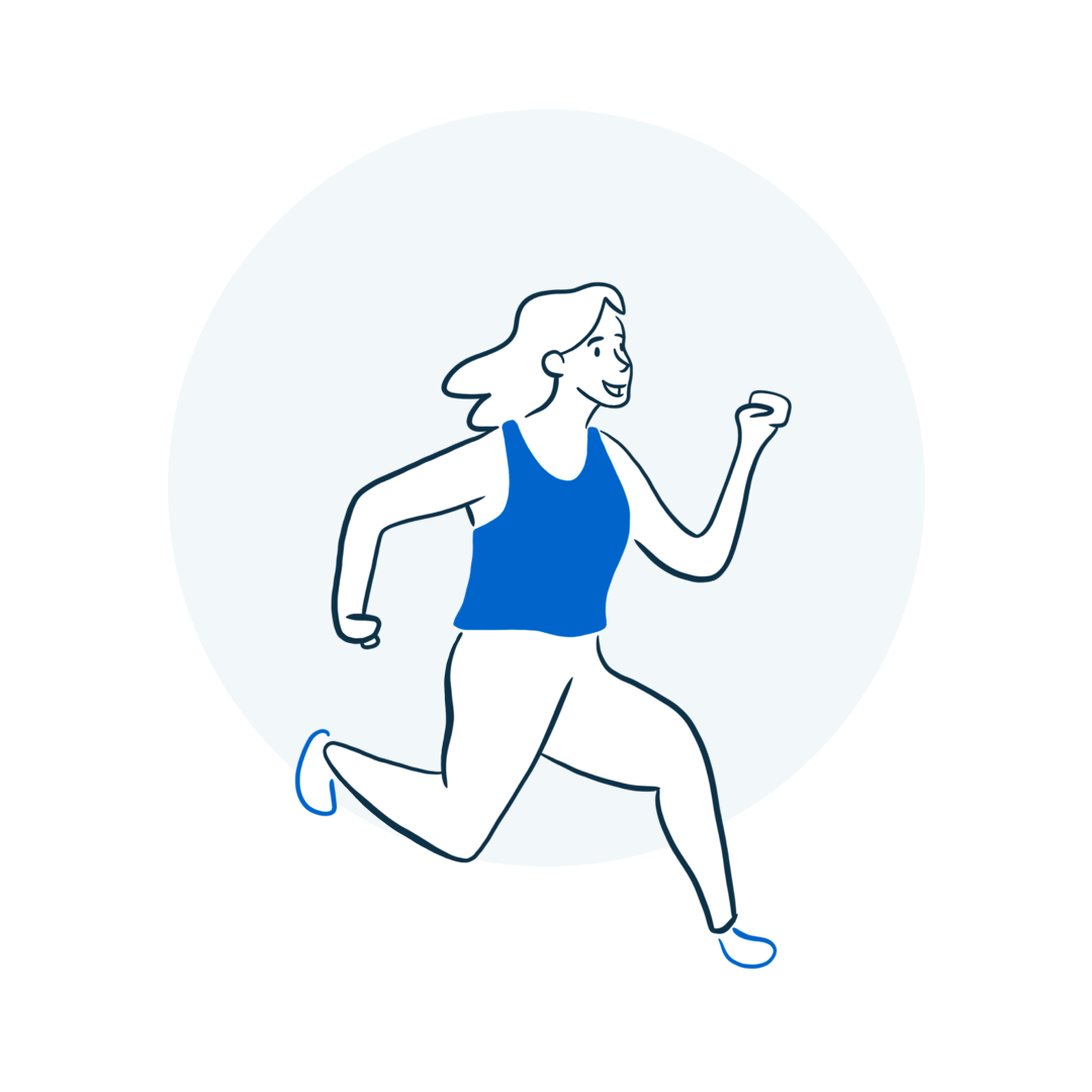 person running enthusiastically