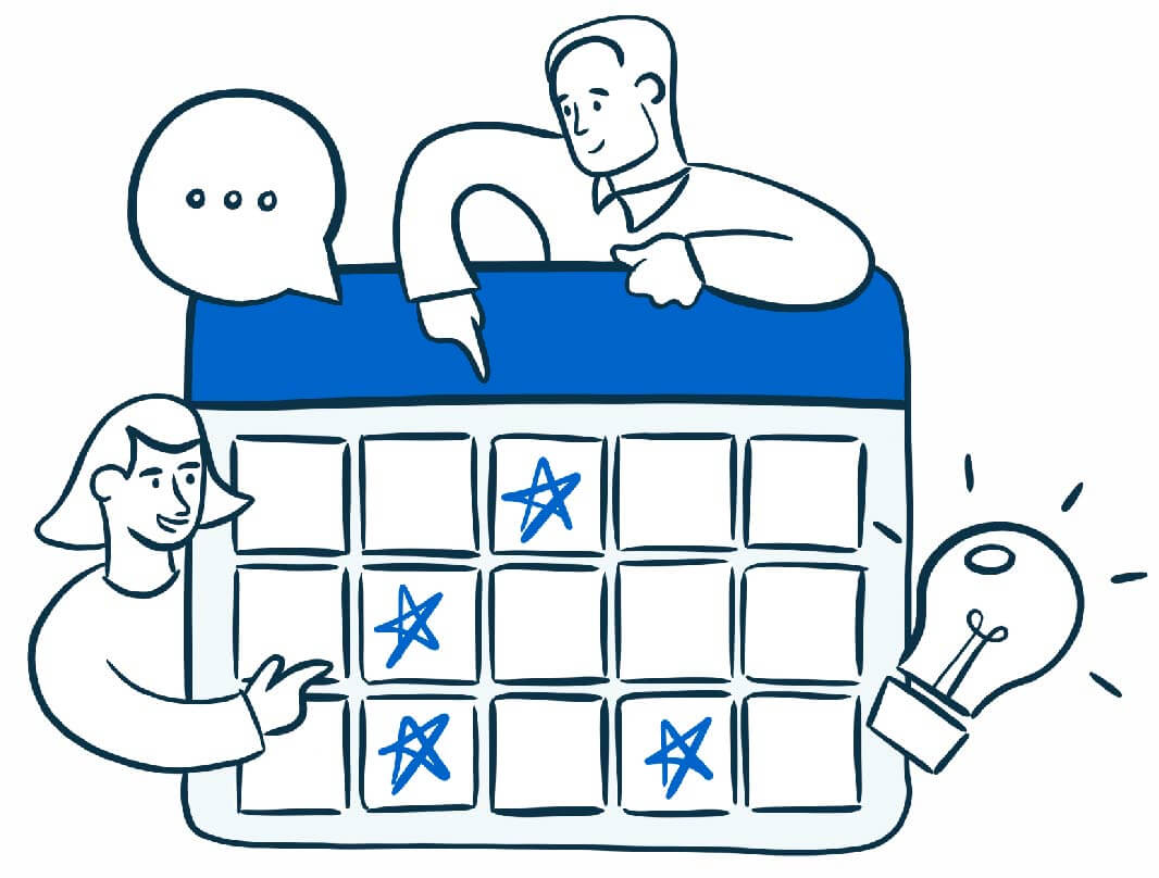 illustration with 2 people pointing at a calendar with a lightbulb and conversation bubble