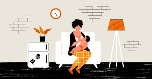 Illustration of woman breastfeeding
