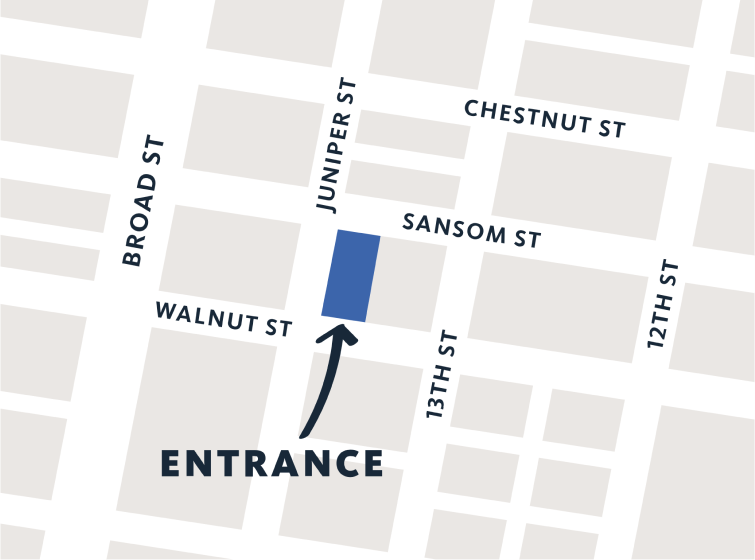 simplified map showing office location on walnut street and juniper street